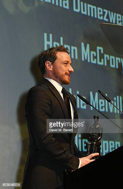 James McAvoy speaks onstage at the 62nd London Evening Standard Theatre Awards, recognising excellence from across the world of theatre and beyond,...