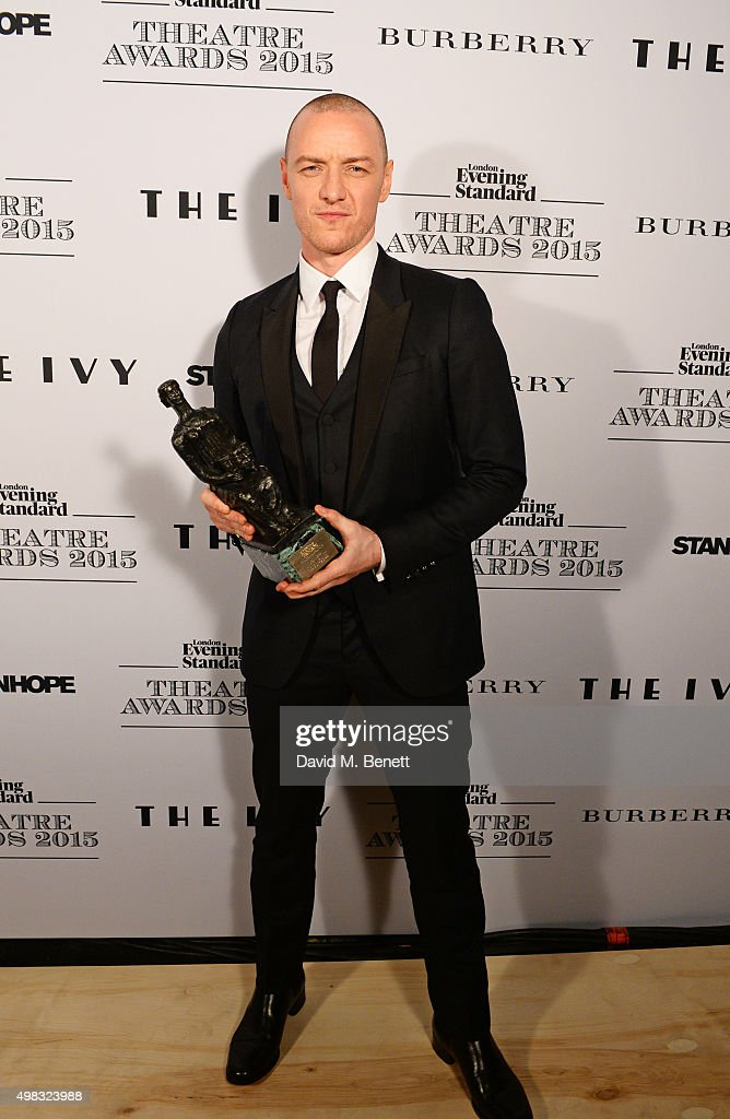 James McAvoy, winner of Best Actor for 'The Ruling Class', poses in front of the Winners Boards at The London Evening Standard Theatre Awards in partnership with The Ivy at The Old Vic Theatre on November 22, 2015 in London, England.