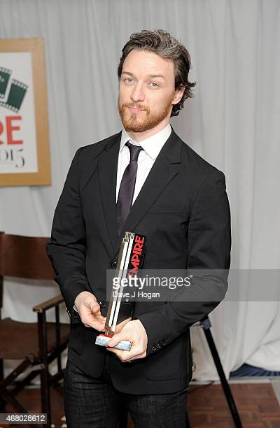 James McAvoy with the award for Best SciFi Fantasy in the Winners room at the Jameson Empire Awards 2015 at Grosvenor House on March 29 2015 in...