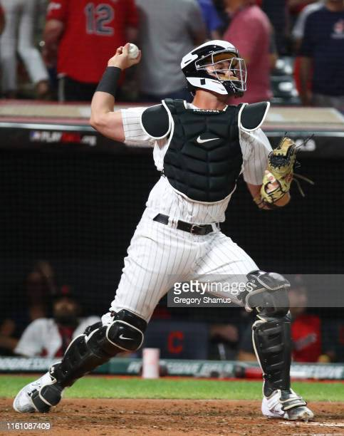 James McCann of the Chicago White Sox and the American League throws the ball during the 2019 MLB AllStar Game presented by Mastercard at Progressive...