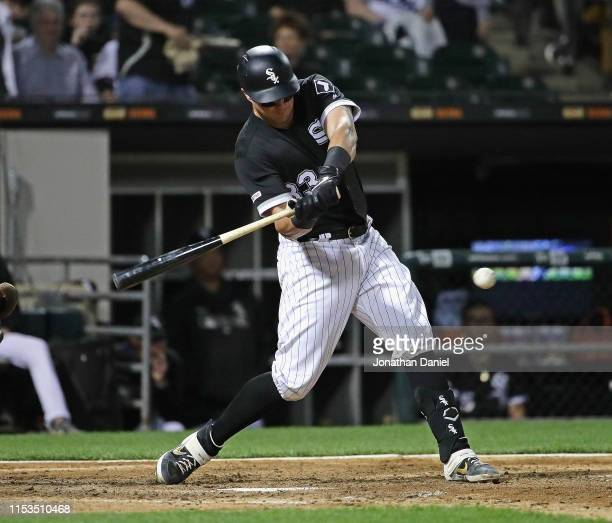 James McCann of the Chicago White Sox bats against the Cleveland Indians at Guaranteed Rate Field on May 30 2019 in Chicago Illinois