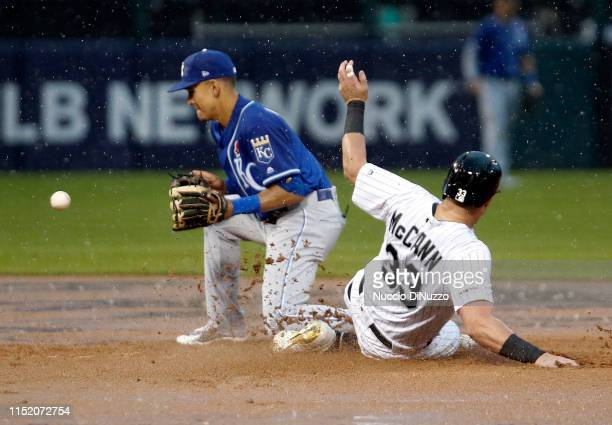 James McCann of the Chicago White Sox goes to second while Nicky Lopez of the Kansas City Royals catches the throw from third base during the fifth...