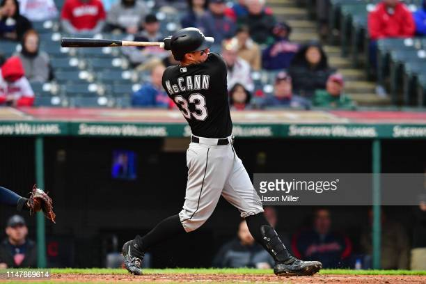James McCann of the Chicago White Sox hits an RBI single during the sixth inning against the Cleveland Indians at Progressive Field on May 07 2019 in...