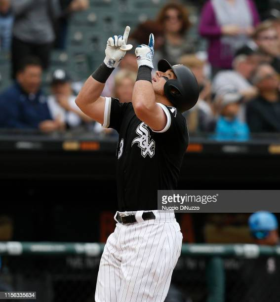 James McCann of the Chicago White Sox rounds the bases following his solo home run during the eighth inning against the New York Yankees at...