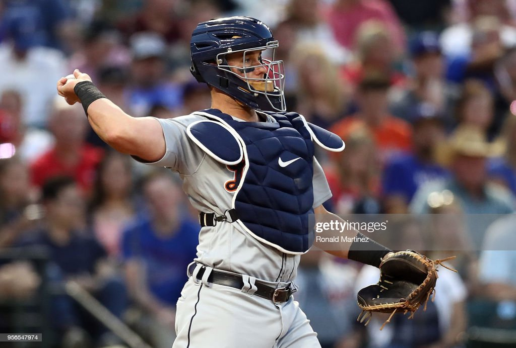 James McCann #34 of the Detroit Tigers at Globe Life Park in Arlington on May 8, 2018 in Arlington, Texas.