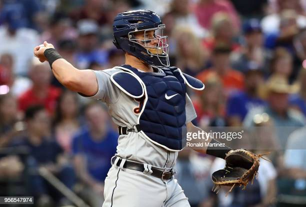 James McCann of the Detroit Tigers at Globe Life Park in Arlington on May 8 2018 in Arlington Texas