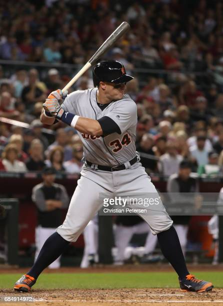 James McCann of the Detroit Tigers bats against the Arizona Diamondbacks during the MLB game at Chase Field on May 9 2017 in Phoenix Arizona