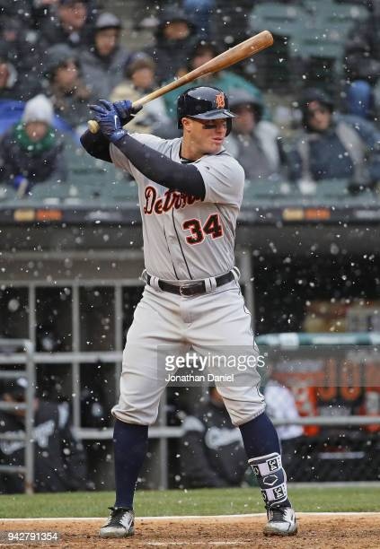 James McCann of the Detroit Tigers bats against the Chicago White Sox during the Opening Day home game at Guaranteed Rate Field on April 5 2018 in...