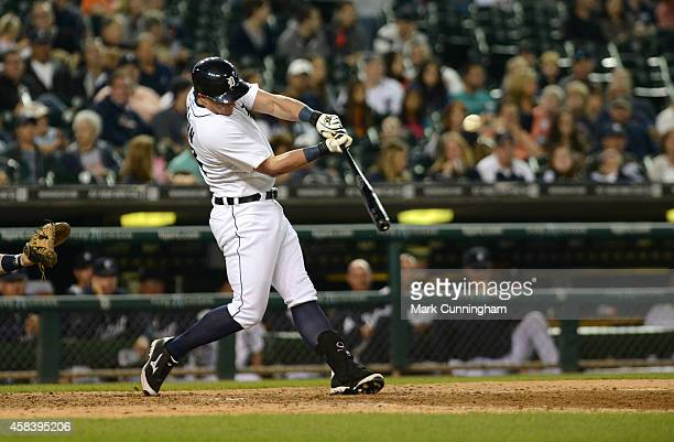 James McCann of the Detroit Tigers bats during the game against the Minnesota Twins at Comerica Park on September 27 2014 in Detroit Michigan The...