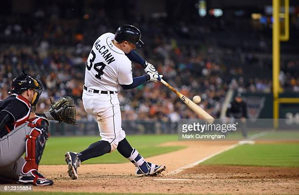 James McCann of the Detroit Tigers bats during the game against the Cleveland Indians at Comerica Park on September 27 2016 in Detroit Michigan The...