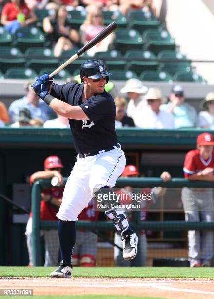 James McCann of the Detroit Tigers bats during the Spring Training game against the Florida Southern Mocs at Publix Field at Joker Marchant Stadium...