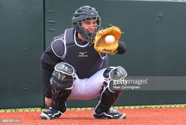 James McCann of the Detroit Tigers catches a baseball during Spring Training workouts at the TigerTown complex on February 14 2017 in Lakeland Florida