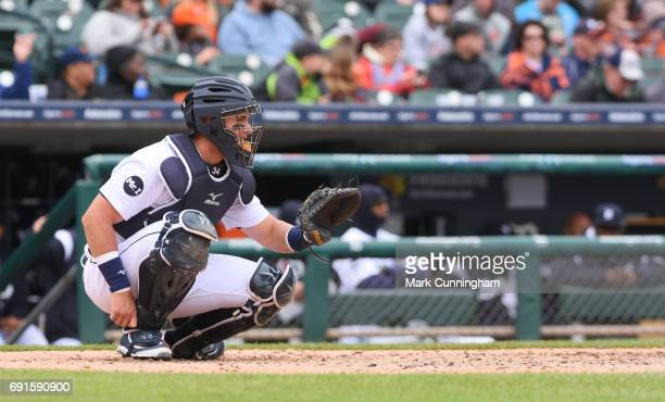 James McCann of the Detroit Tigers catches during the game against the Chicago White Sox at Comerica Park on April 29 2017 in Detroit Michigan The...