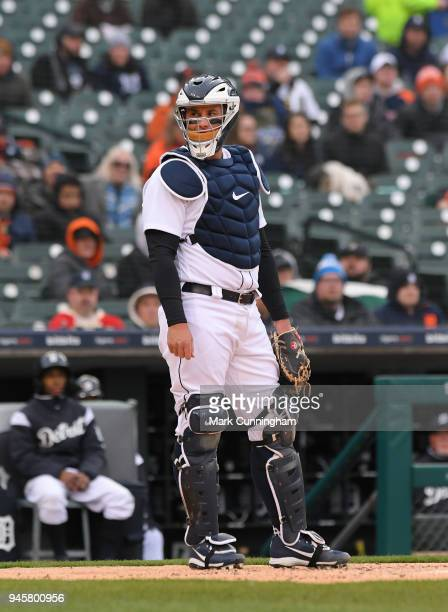 James McCann of the Detroit Tigers looks on during game two of a double header against the Pittsburgh Pirates at Comerica Park on April 1 2018 in...