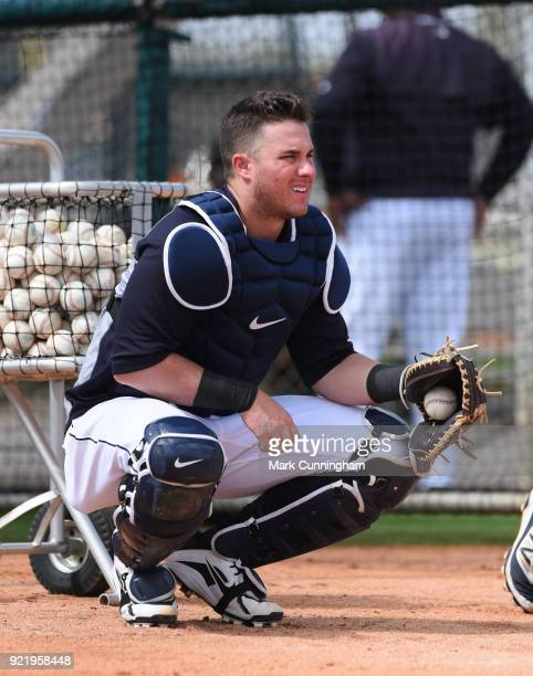 James McCann of the Detroit Tigers looks on during Spring Training workouts at the TigerTown Facility on February 20 2018 in Lakeland Florida