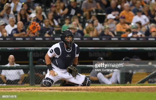 James McCann of the Detroit Tigers looks on during the game against the Minnesota Twins at Comerica Park on September 22 2017 in Detroit Michigan The...