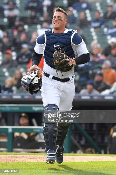 James McCann of the Detroit Tigers looks on during the Opening Day game against the Pittsburgh Pirates at Comerica Park on March 30 2018 in Detroit...