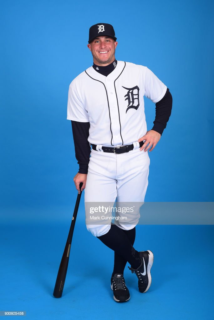 James McCann #34 of the Detroit Tigers poses for a photo during photo day on February 20, 2018 in Lakeland, Florida.