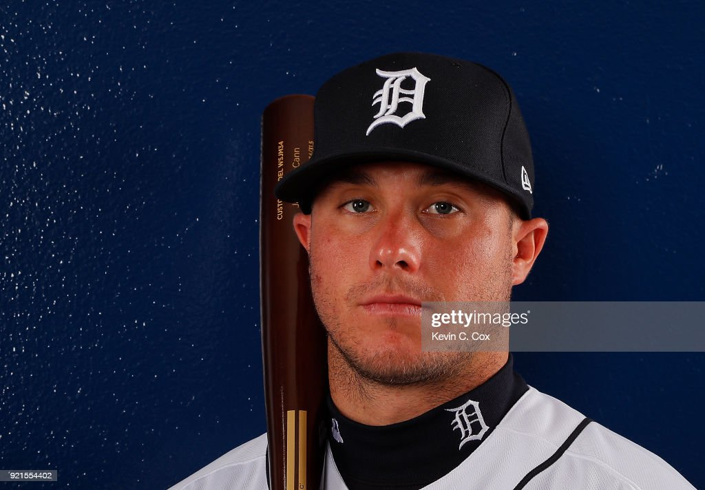 James McCann #34 of the Detroit Tigers poses for a photo during photo days on February 20, 2018 in Lakeland, Florida.