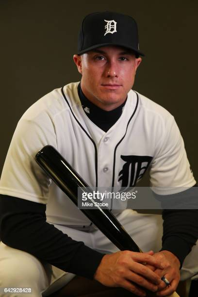 James McCann of the Detroit Tigers poses for a portait during a MLB photo day at Publix Field at Joker Marchant Stadium on February 19 2017 in...