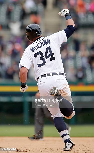 James McCann of the Detroit Tigers rounds the bases after hitting a solo walkoff home run to defeat the Houston Astros 65 in the 11th inning at...