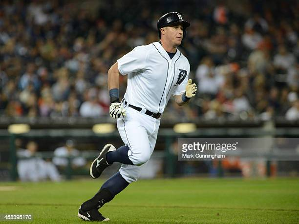 James McCann of the Detroit Tigers runs the bases during the game against the Minnesota Twins at Comerica Park on September 27 2014 in Detroit...