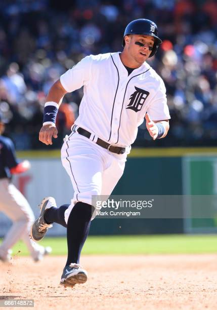 James McCann of the Detroit Tigers runs the bases during the Opening Day game against the Boston Red Sox at Comerica Park on April 7 2017 in Detroit...