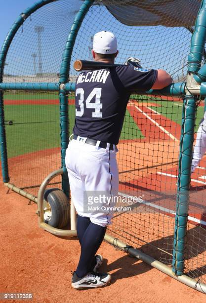 James McCann of the Detroit Tigers stands at the batting cage during Spring Training workouts at the TigerTown Facility on February 16 2018 in...