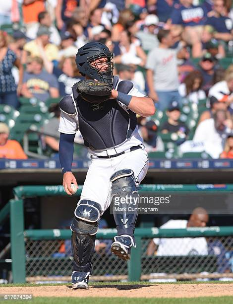 James McCann of the Detroit Tigers throws a baseball during the game against the Kansas City Royals at Comerica Park on September 24 2016 in Detroit...