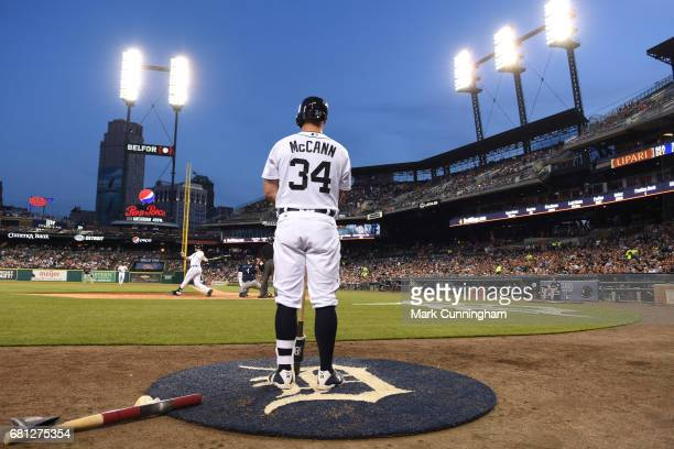 James McCann of the Detroit Tigers waits ondeck to bat during the game against the Seattle Mariners at Comerica Park on April 26 2017 in Detroit...