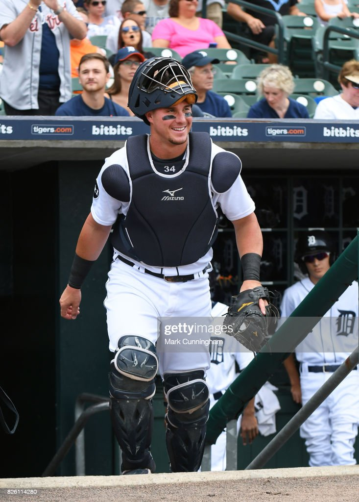 James McCann #34 of the Detroit Tigers walks up the dugout steps at the start of the game against the Toronto Blue Jays at Comerica Park on July 16, 2017 in Detroit, Michigan. The Tigers defeated the Blue Jays 6-5.