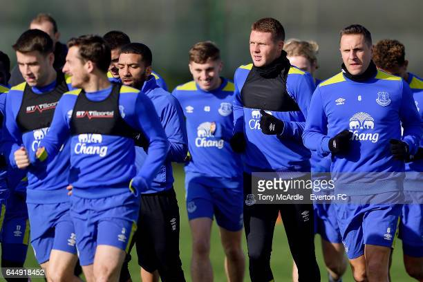 James McCarthy and team mates during the Everton FC training session at USM Finch Farm on February 24 2017 in Halewood England