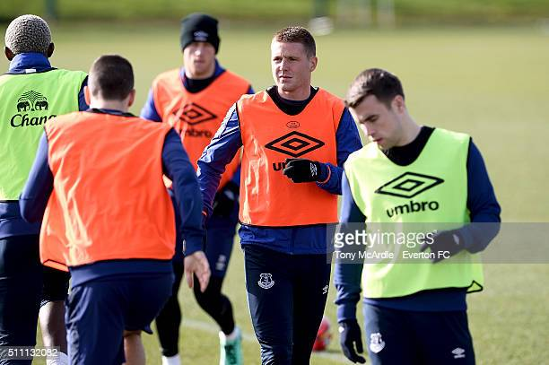 James McCarthy and team mates during the Everton training session at Finch Farm on February 18 2016 in Halewood England