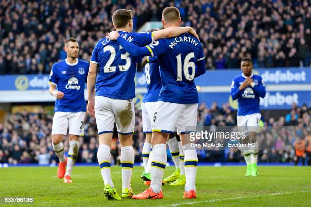 James McCarthy celebrates his second goal with Seamus Coleman during the Premier League match between Everton and AFC Bournemouth at Goodison Park on...