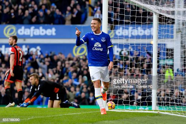 James McCarthy celebrates scoring his team's second goal during the Premier League match between Everton and AFC Bournemouth at Goodison Park on...