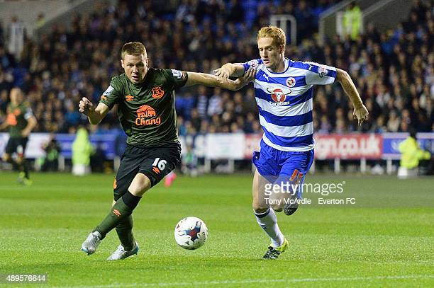 James McCarthy of Everton and Alex Fernandez during the Capital One Cup match between Reading and Everton at Madejski Stadium on September 22 2015 in...
