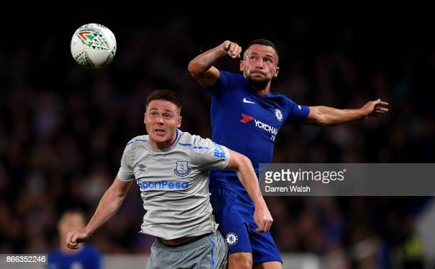 James McCarthy of Everton and Danny Drinkwater of Chelsea in action during the Carabao Cup Fourth Round match between Chelsea and Everton at Stamford...