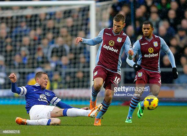FEBRUARY 01 2014 James McCarthy of Everton competes with Andreas Weimann of Aston Villa during the Barclays Premier League match between Everton and...