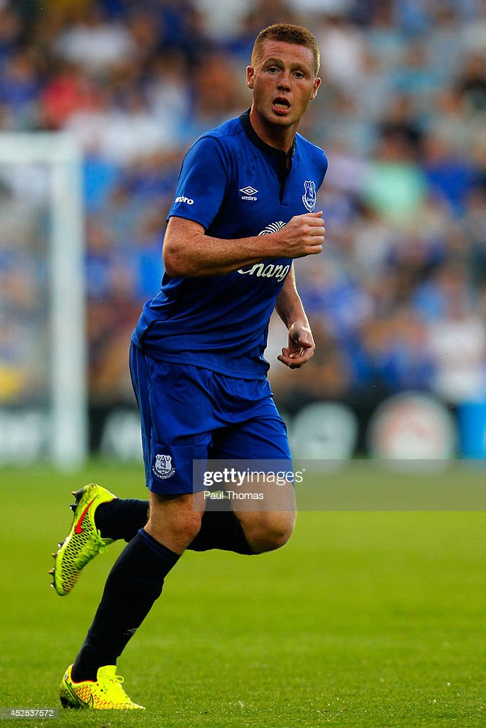 James McCarthy of Everton in action during the Pre Season Friendly between Tranmere Rovers and Everton at Prenton Park on July 22, 2014 in Birkenhead, England.