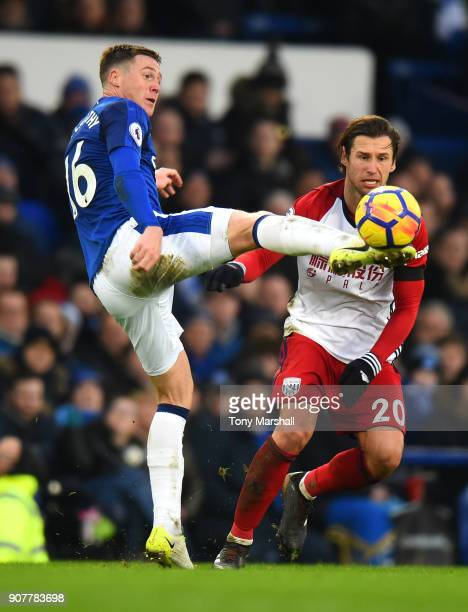 James McCarthy of Everton is challenged by Grzegorz Krychowiak of West Bromwich Albion during the Premier League match between Everton and West...