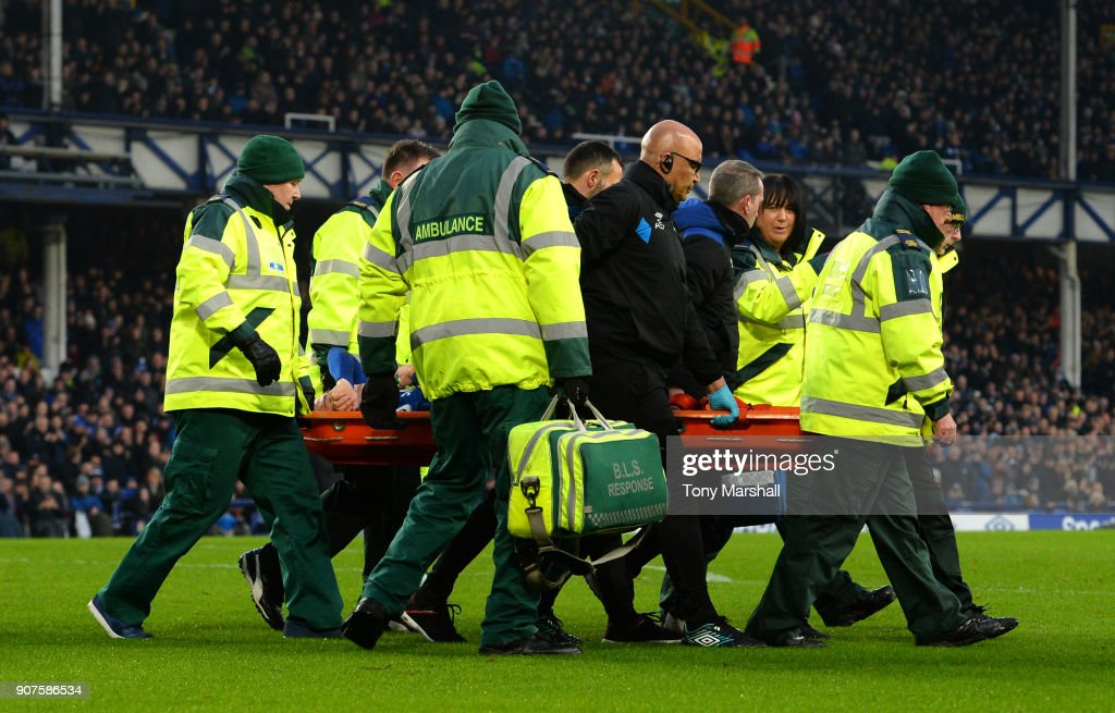 James McCarthy of Everton is taken off on a stretcher during the Premier League match between Everton and West Bromwich Albion at Goodison Park on January 20, 2018 in Liverpool, England.