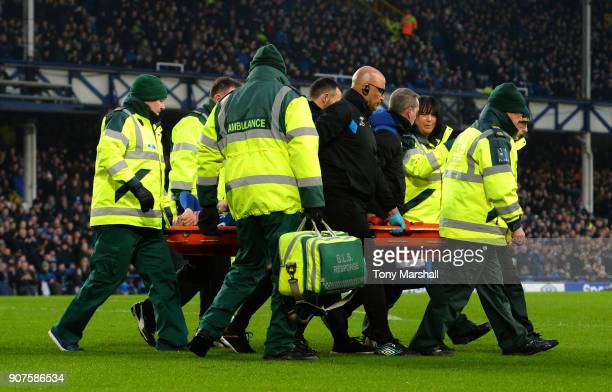 James McCarthy of Everton is taken off on a stretcher during the Premier League match between Everton and West Bromwich Albion at Goodison Park on...
