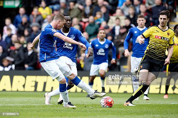 James McCarthy of Everton shoots to score during the Barclays Premier League match between Watford and Everton at Vicarage Road on April 9 2016 in...