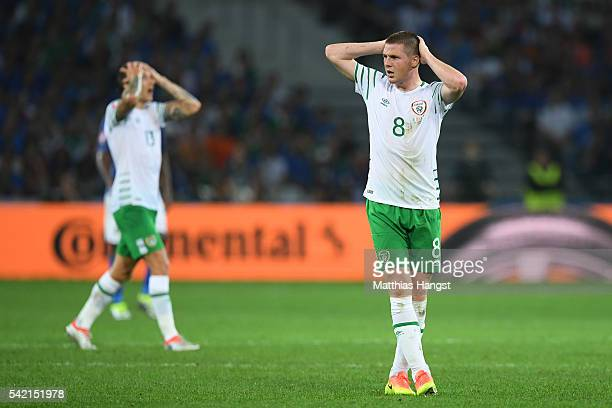 James McCarthy of Republic of Ireland reacts during the UEFA EURO 2016 Group E match between Italy and Republic of Ireland at Stade PierreMauroy on...