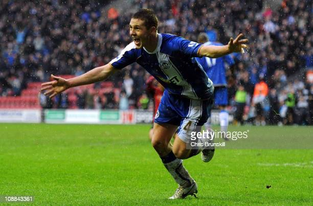 James McCarthy of Wigan Athletic celebrates after scoring to make it 11 during the Barclays Premier League match between Wigan Athletic and Blackburn...