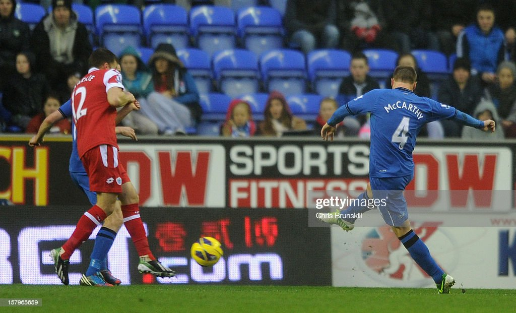 James McCarthy of Wigan Athletic scores the opening goal the Barclays Premier League match between Wigan Athletic and Queens Park Rangers at the DW Stadium on December 8, 2012 in Wigan, England.