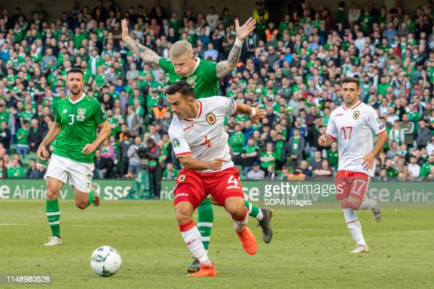 James Mcclean and John Sergeant in action during the European Championship 2020 Qualifying Round of Gibraltar vs Ireland in the Aviva Stadium,...