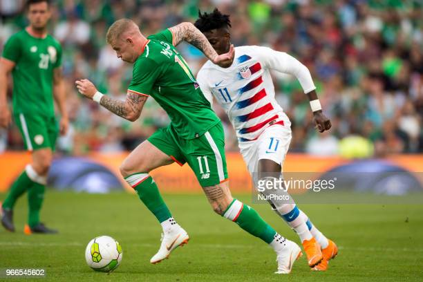 James McClean of Ireland and Tim Weah of USA fight for the ball during the International Friendly match between Republic of Ireland and USA at Aviva...