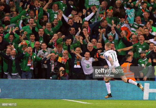James McClean of Ireland celebrates his goal during the FIFA World Cup Qualifier Group D match between Wales and Republic of Ireland at The Cardiff...