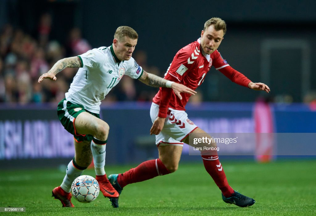 James McClean of Republic of Ireland and Christian Eriksen of Denmark compete for the ball during the FIFA 2018 World Cup Qualifier Play-Off First Leg match between Denmark and Republic of Ireland at Telia Parken Stadium on November 5, 2017 in Copenhagen, Denmark.